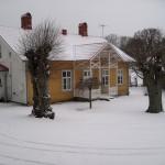 Fullt snöfall utanför dörren idag